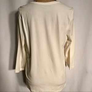"""acbe6af95fd4 Chico s Tops - CHICO S Ecru """"Collette"""" 3 4 Top Ultimate Tee NWT"""